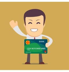 Businessman holding a bank card vector image