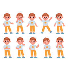 Cartoon cute kid boy character expressions vector