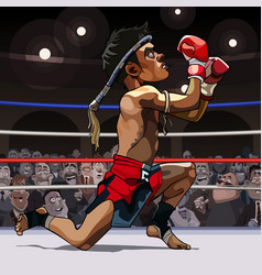Cartoon man fighter muay thai in the ring vector
