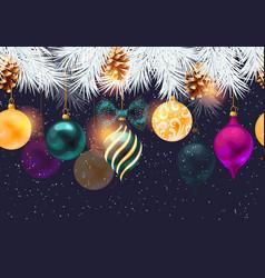 Christmas seamless border with pine and toys vector
