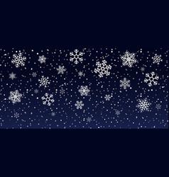 Christmas snowflakes on blue background snowfall vector