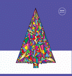 Christmas tree in modern style hand vector
