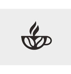 Coffee cup with beans logo design template vector