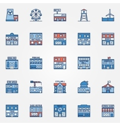 Colorful town building icons vector image