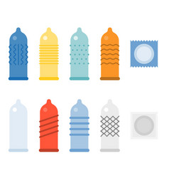 Condom collections icons set vector
