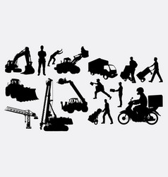 construction and delivery silhouettes vector image