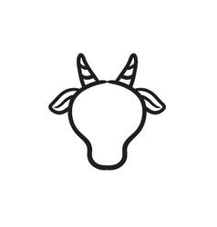 Cow head sketch icon vector