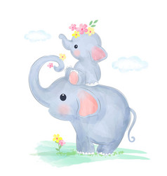 Cute mommy and baby elephant together vector