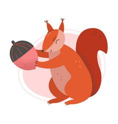 Cute squirrel furry animal holding acorn vector