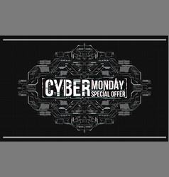 Cyber monday background with futuristic user vector