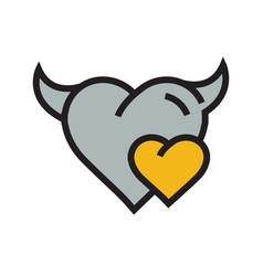 Devil mini heart icon yellow vector