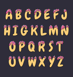 doodle cartoon hand drawn font donut english vector image