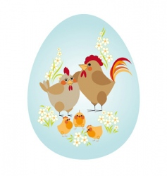 Easter egg chicken family vector image