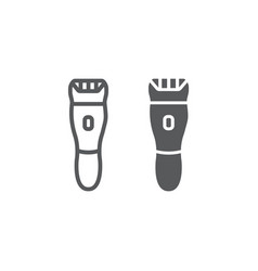 Electric shaver line and glyph icon barber and vector