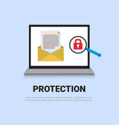 email protection concept laptop with lock data vector image