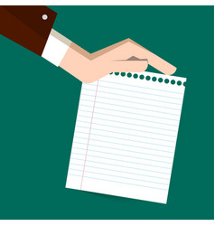 empty white notebook paper with human hand on vector image