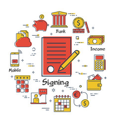 finance and banking concept - signing a contract vector image
