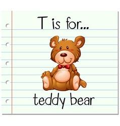 Flashcard letter T is for teddy bear vector
