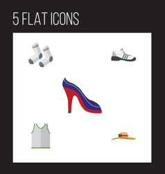 flat icon dress set of sneakers singlet foot vector image