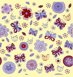 floral seamless pattern with red and purple vector image