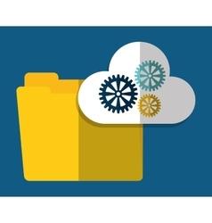 Folder gear cloud computing icon graphic vector