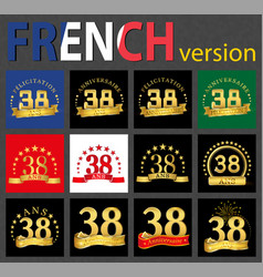 french set of number 38 templates vector image