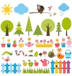 Garden elements set vector