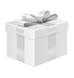 Gift box with silver ribbon package mockup vector