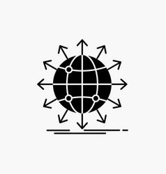 Globe network arrow news worldwide glyph icon vector
