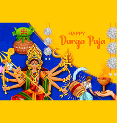 Goddess durga in happy dussehra navratri vector