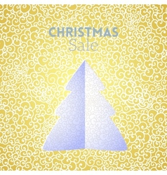 Gold Christmas Sale doodle seamless pattern with vector image