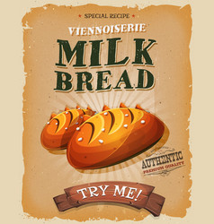 Grunge and vintage milk bread poster vector
