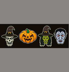 halloween characters set colored objects vector image