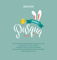 happy easter italian calligraphy greeting card vector image