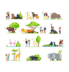 happy families kids with parents and wild zoo vector image