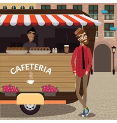 Hipster with coffee stall vector