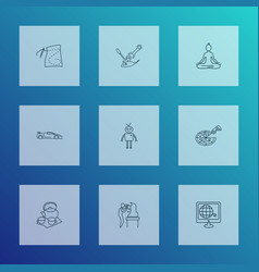 hobby icons line style set with tea set yoga vector image