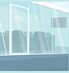 Interior of office corridor with meeting rooms vector