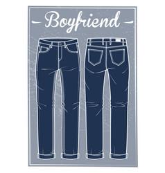 jeans boyfriend fit vector image