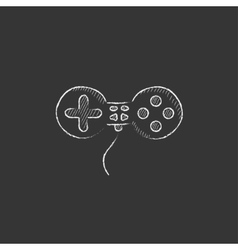 Joystick Drawn in chalk icon vector
