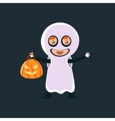 Kid in ghost halloween disguise vector