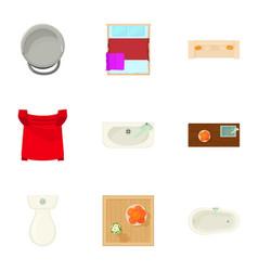 Lavatory icons set cartoon style vector