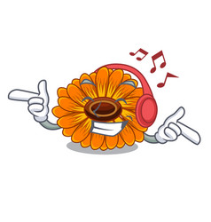 Listening music calendula flower in the mascot vector