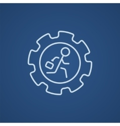 Man running inside the gear line icon vector image