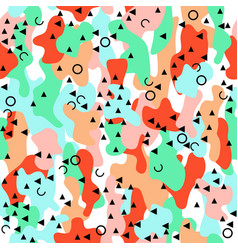 memphis camouflage seamless pattern in a brown vector image