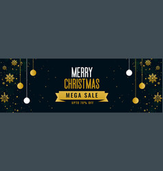 merry christmas mega sale golden banner template vector image