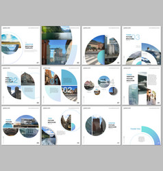 Minimal brochure templates with blue color circles vector