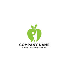 Modern apple logo with people vector