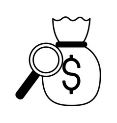 money bag dollar magnifying glass vector image
