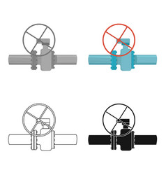 oil pipe with valve icon in cartoon style isolated vector image